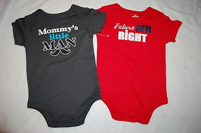6222b7550 Baby Boys 2 LOT BODYSUIT TEE Mustache MOMMY'S LITTLE MAN Future Mr Right 18  MO