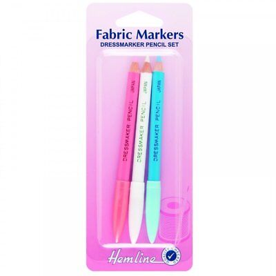 Hemline - Dressmakers Pencils - Fabric Markers - 3 Piece Pack Blue White Pink