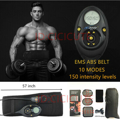 Pro EMS Muscle Training Gear Abdominal Body Fitness Toner ABS Fit Workout Belt