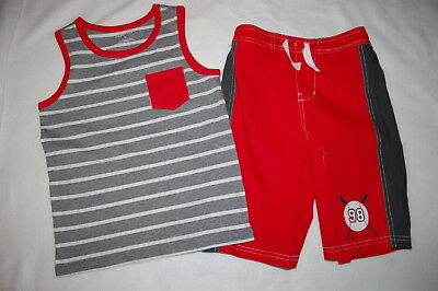 Toddler Boys Outfit TANK TOP Gray White Striped RED SHORTS Baseball Bats SIZE 2T