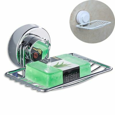 Metal Shower Bathroom Stainless Steel Drain Tray Holder Suction Cup Soap Dish