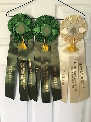 Lot of 3 Vintage 1968 ALLENDALE Horse Show Ribbons, white 4th, and two green 6th