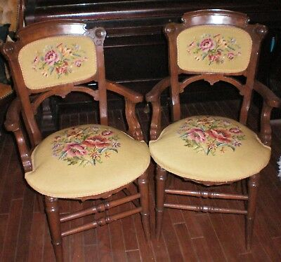 Pair of VICTORIAN Needlepoint 2 Chairs original burled maple /walnut Excellent!!