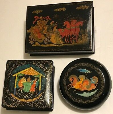 Lot of 3 PALEKH Russian Lacquer Boxes 2 w/TROIKA HORSE SLEIGHS~SAMOVAR TEA PARTY