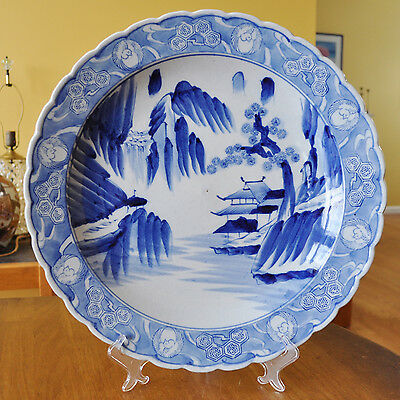"""Lovely Large Antique Chinese Export Hand Painted Canton Blue & White Charger 16"""""""