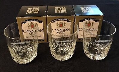 Imported Canadian Mist Whiskey Etched Rocks Cocktail Drinking Glass~Set Of 3