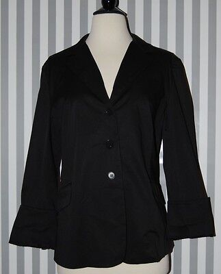 A Pea In The Pod Black Blazer Jacket Maternity Stretch Sateen Cotton 3 Button M