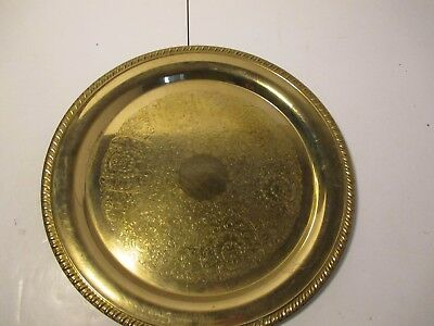 "Vintage Brass Serving Platter Plate Floral Etchings 12 1/4"" Across"