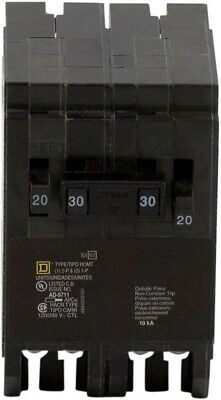 Circuit Breaker Homeline 2-20 Amp Single-Pole 1-30 Amp 2-Pole Quad Tandem