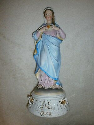 Ancienne Statue Religieuse/vierge Marie Sacre Coeur/biscuit Andenne-Saxe/h.35,5