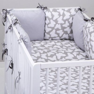 PILLOW BUMPER made form 6 cushions GREY BUTTERFLIES / GREY cot / cot bed