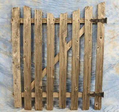"Vintage Weathered Wooden Garden Gate Panel 52"" Tall with Hardware Rustic Country"