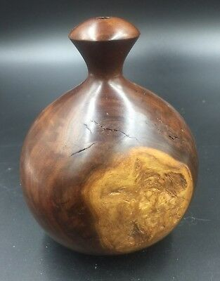 Turned Wood Treen Vintage Sculpture , 50s 60s Wooden Vase Retro