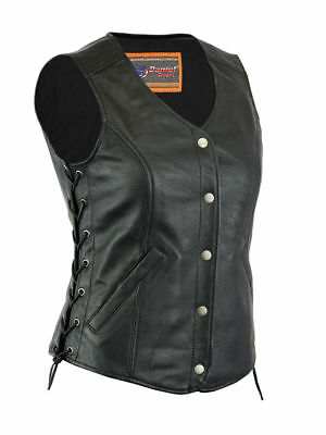 Womens Leather Motorcycle Vest, DS206, Ladies Long Leather Motorcycle Vest