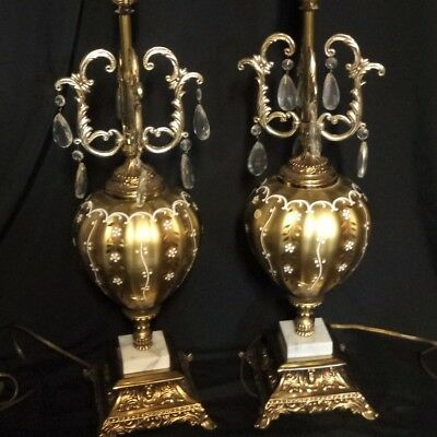 """Vintage Pair of Lamps Large Hollywood Regency Glam Brass Marble Prisms 33"""" Tall"""