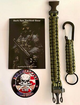 Paracord Survival Bracelet+ Keychain+ Decal...Dark Ops Tactical Gear -Army Green