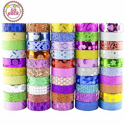 50 Rollen Glitter Washi Tape Set für DIY Decor Klebeband Scrapbooking Decorative