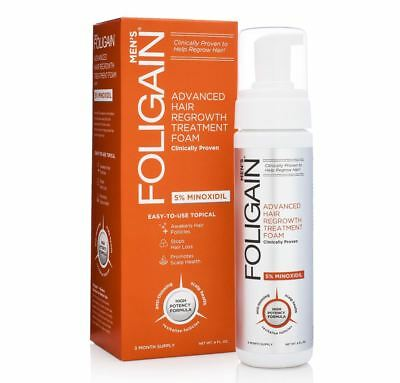 Foligain Minoxidil 5% Hair Regrowth Foam For Men 3 Month Supply 177ml/6 Oz