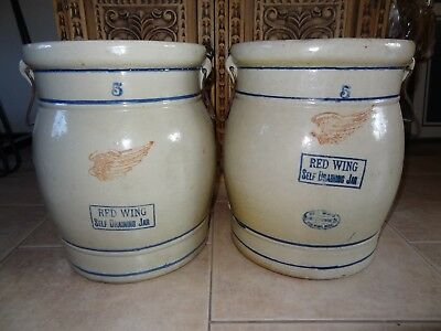Antique Pair of RED WING Crock Self Draining Jars, RARE Large Set! Vintage Decor