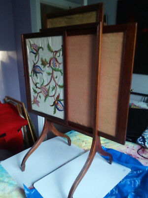 Regency Triple Leaf Fire Screen With Jacobite Style Embroider On Front Screen