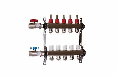 "5 port 1/2"" Pex Manifold Stainless Steel Radiant Floor Heating Kit"