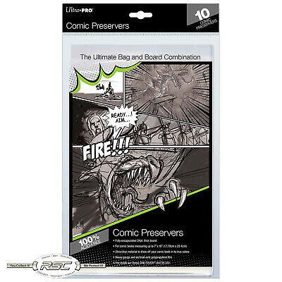 "10 - Ultra Pro COMIC PRESERVER - 7"" x 10"" - Ultra Clear Bag & 24pt. Board Combo!"