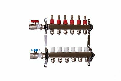 "6 port 1/2"" Pex Manifold Stainless Steel Radiant Floor Heating Kit"