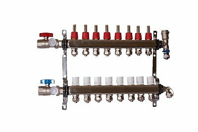 "8 port 1/2"" Pex Manifold Stainless Steel Radiant Floor Heating Kit"