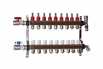 "9 port 1/2"" Pex Manifold Stainless Steel Radiant Floor Heating Kit"