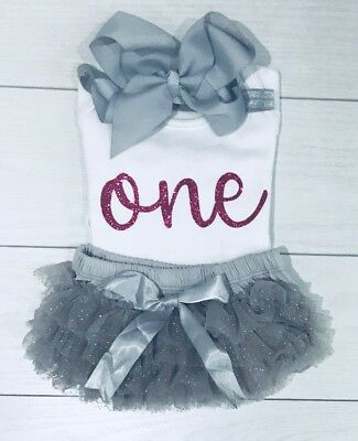 Luxury Girls Frilly Tutu Knicker Cake Smash 1st First Birthday Outfit Top Bow