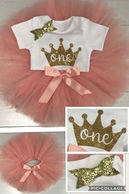 Baby Girls 1st First Birthday Outfit Tutu Skirt Cake Smash Set Blush Bow 9-12m