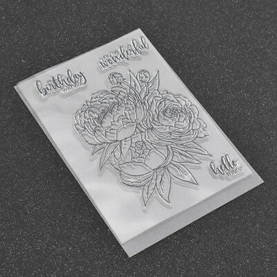 Rubber Clear Stamps Flowers for Scrapbooking Birthday Flower DIY Album Craft
