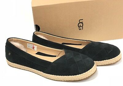 51e7f98a1 UGG Australia Clarissa Woven Suede Slip On Flat 1092234 Black Women's Shoes