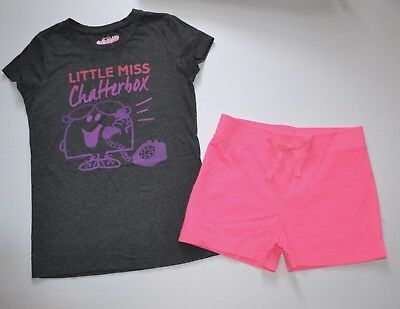 """NWT Old Navy Girls """"Little Miss Chatterbox"""" Tee Top & Knit Shorts Set 14 XL"""