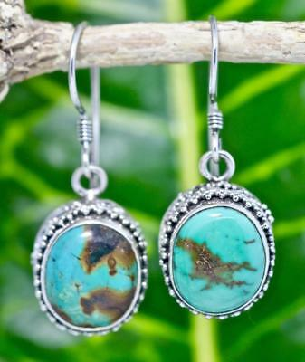 Handmade Sterling Silver .925 Bali Accent Oval Dangle Earrings w Turquoise , #3