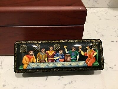 Russian Black Lacquer Hinged Box With Artists Signature