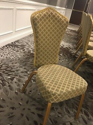 Banquet Chairs, Flex Back, Gold Frame, Gold/Blue Fabric Good Condition