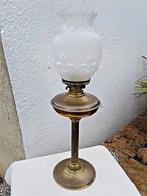 LARGE VINTAGE BRASS OIL LAMP with OPALESCENT PRESSED GLASS SHADE 26""