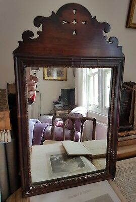 Small Attractive Dark Wood Antique Dressing Table Mirror Very Solid