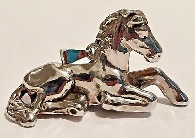 Horse Pendant Sterling Silver Bat-Ami Sitting One Leg Extended 925 Israel