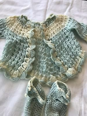 Vintage Crocheted Baby Jacket Knit Booties Blue (J6)