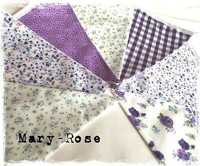 Beautiful Vintage Floral Bunting. Purple And Lilac Fabric Shabby Chic