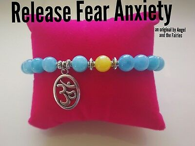 Code 650 Topaz Aquamarine Infused Om Bracelet Release Fear Anxiety