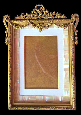 French Antique Ornate Ormolu Bronze Picture Portrait Frame France Garlands Roses