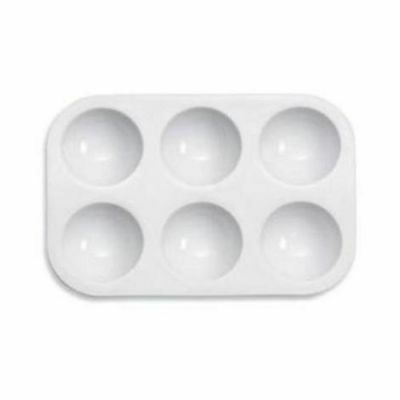 Heavy Duty Small white plastic 6 well palette - Suitable for all mediums