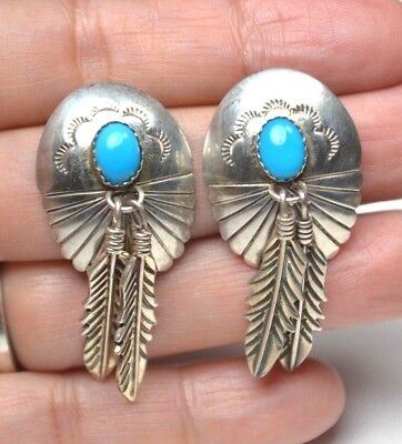 Vtg STC Thomas Singer Native American Sterling Turquoise Concho Feather Earrings