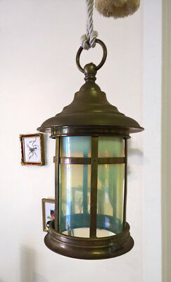 Antique Brass Lantern Victorian Vaseline Opalescent Lamp Old Glass Shade Light