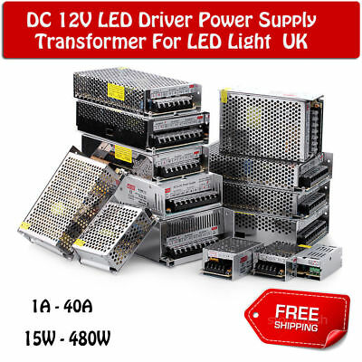 DC12V LED Strip Light Regulated Switching Power Supply Transformers 150W-480W UK