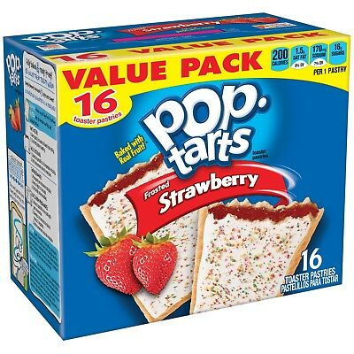 New Kelloggs Pop Tarts Frosted Strawberry 16Ct 29.3Oz Free Shipping