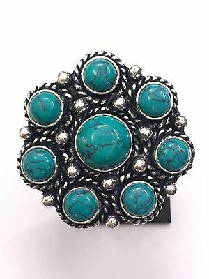 925 Sterling Silver Overlay Turquoise Stone Antique Designer Ring US Size 9 VJR8